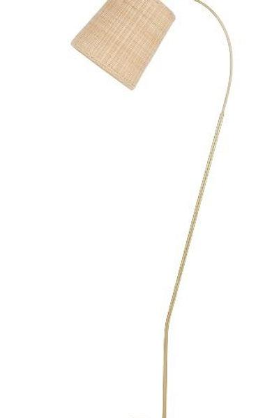 Coffs Rattan & gold floor lamp - Pre Order for April