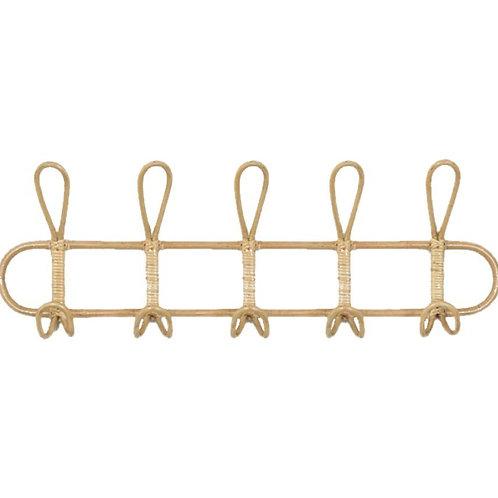 Rattan 5 hook rack