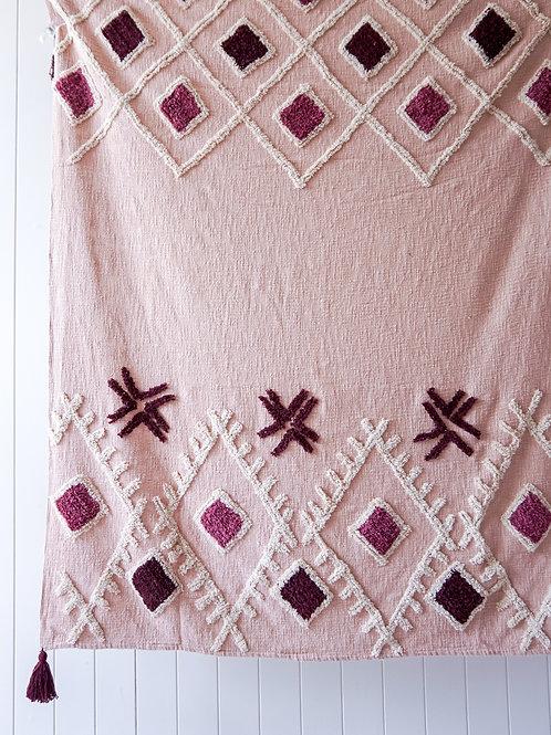 Boho Blush - Textured throw blanket