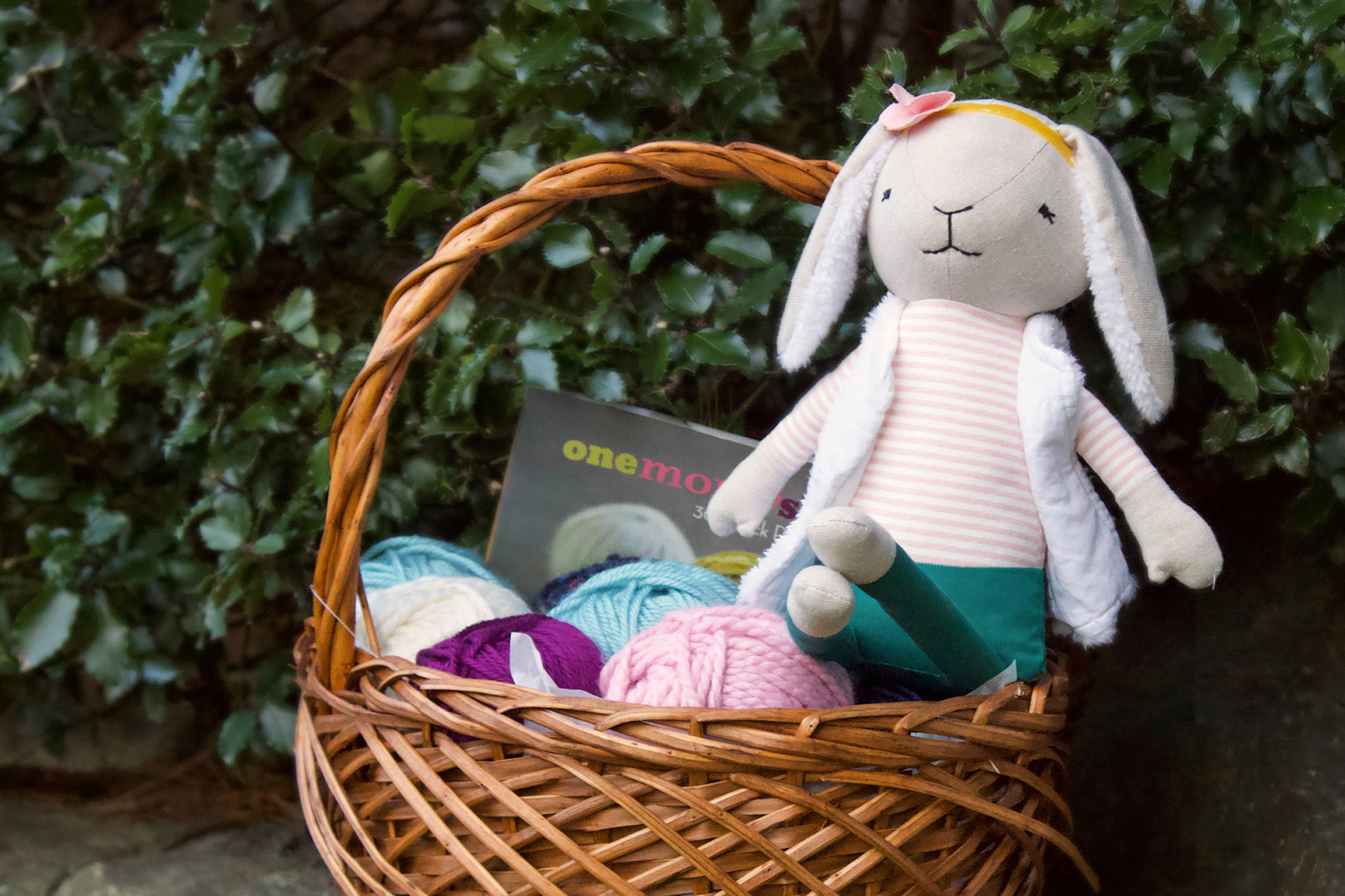 Bunny and knitting supplies