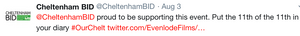 """Cheltenham BID are """"proud to be supporting this event"""" with Evenlode Productions and Evenlode Films"""