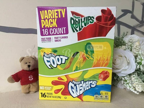 【Sunny Buy】Variety Pack (16ct) Fruit by the Foot+Fruit Roll-Ups+Gushers (#0260)