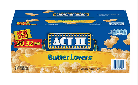 【Sunny Buy】ACT II Butter Lovers Microwave Popcorn 32ct 2.75 oz (#19825)