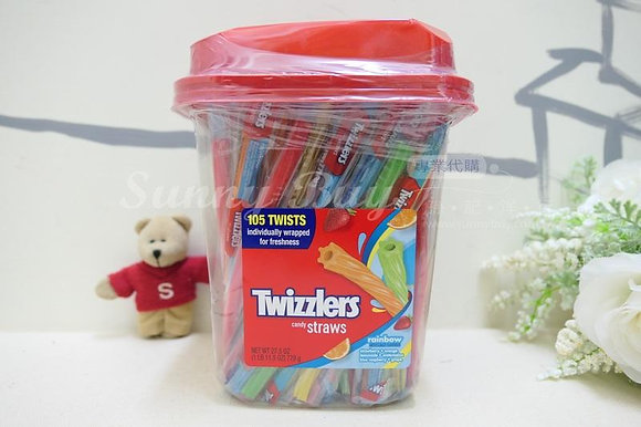 【Sunny Buy】Twizzlers Rainbow Straw 105 Straws Bucket 27.5oz (#7435)