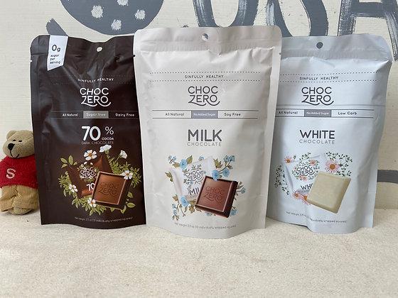 【Sunny Buy】ChocZero Sugar Free Chocolate 3.5oz Milk/Dark/White Chocolate