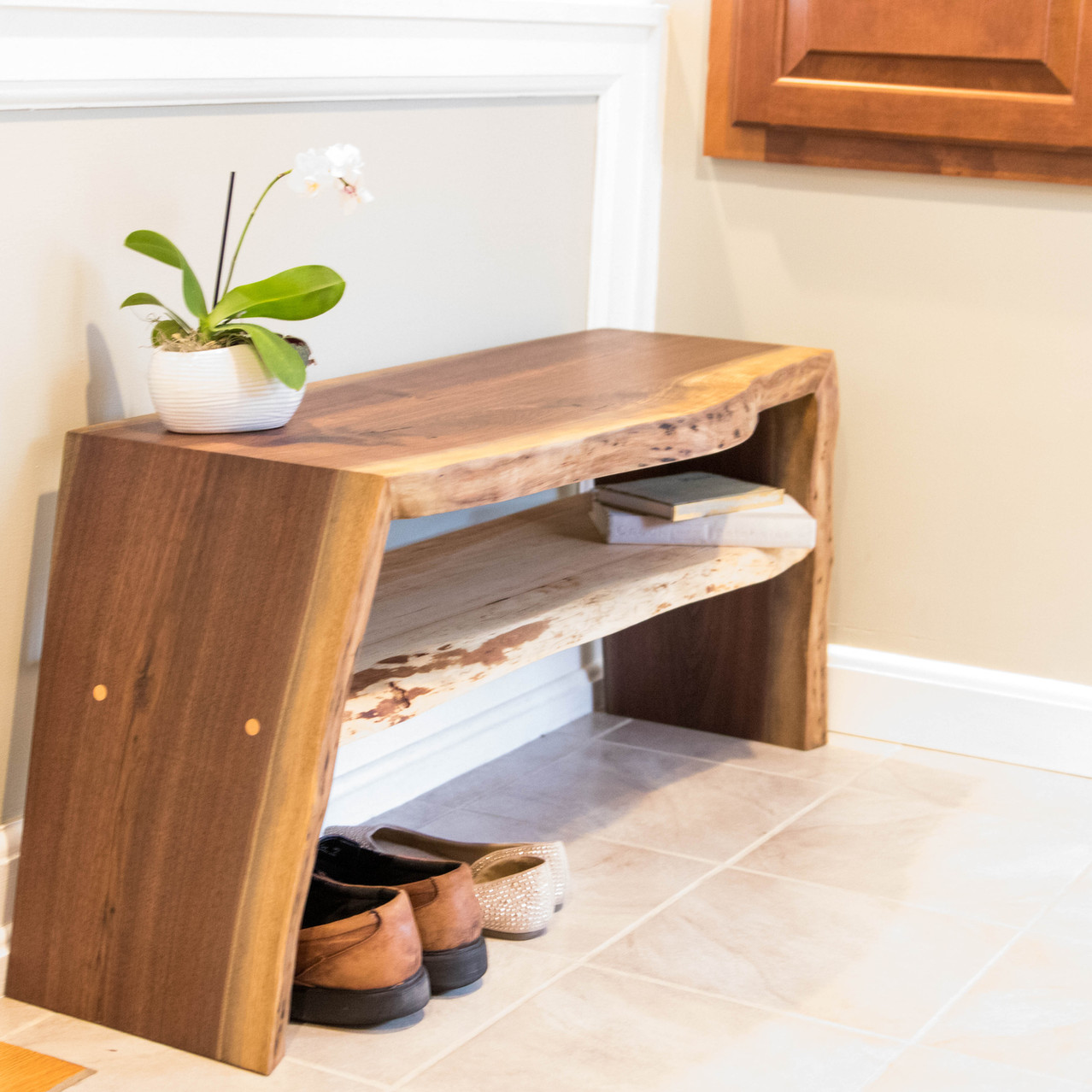 Walnut Double Waterfall Entryway Bench