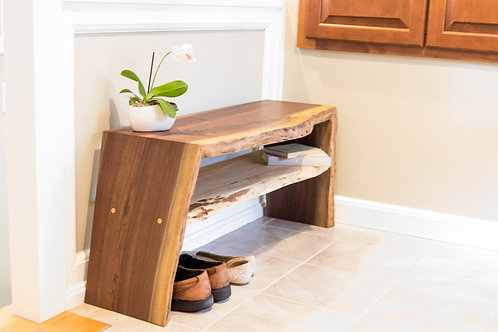 Walnut and Maple Double Waterfall Entryway Bench