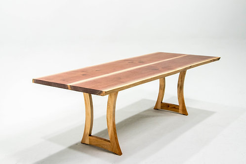 8' Walnut Dining Table with Custom Curved Maple Legs