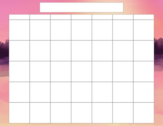 Sunsets Calendar Templates