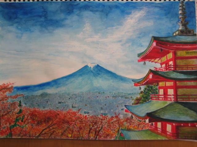 80代ご利用者様の作品です。静岡県の浅間神社から見た富士の風景画を描かれました。建物の陰影や紅葉した木々の葉一つ一つまで細かく描き込みされています。