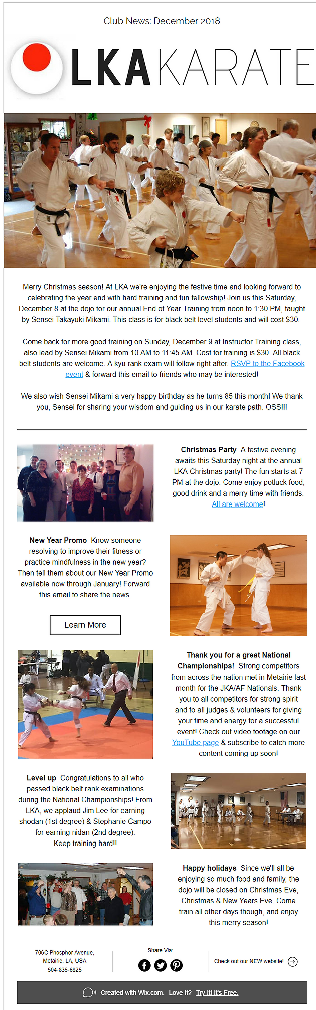 Dojo News - December 2018 | Home | Louisiana Karate Association