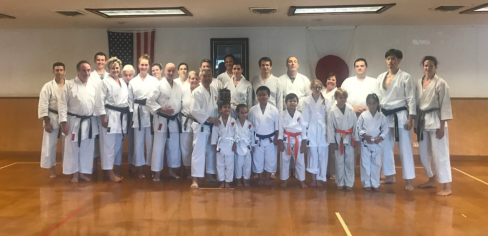 Karate students across the Gulf South with Sensei Mikami