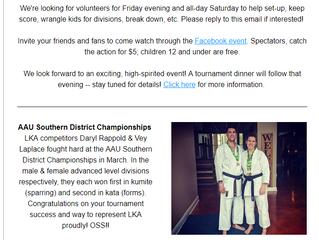 Dojo News: All South Karate Championships Next Saturday!!