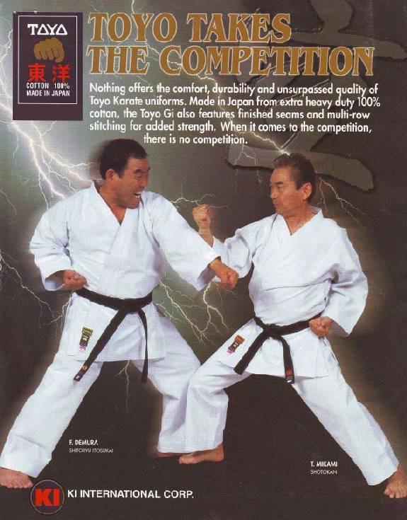 Sensei Mikami in karate gi ad with Sensei Demura, aka Mister Miyagi stunt double, circa 1992d