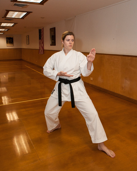 Perfecting knife hand block technique used in many traditional karate kata.