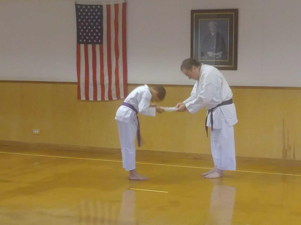 Youth belt karate test at LKA Karate Club in Metairie