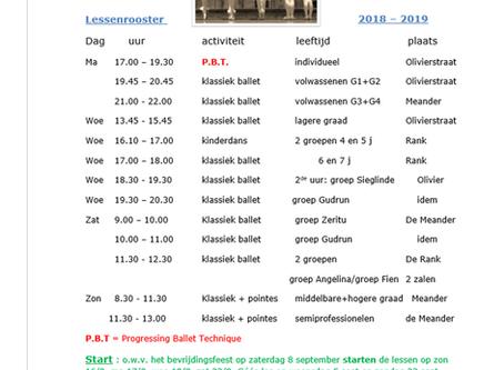 Lessenrooster 2018-2019
