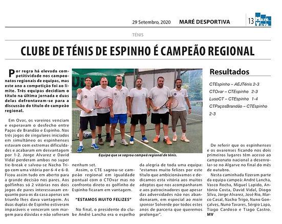 Club ténis Espinho Campeão regional