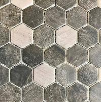 Hexagonal grey mix glazed mosaic