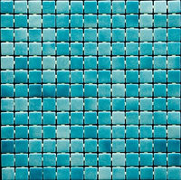 aqua colored mix of glossy mosaic tiles in a 35 x 35 grid