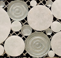light green and white circular pebble shapped mosaics