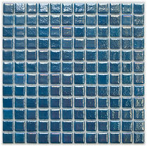 Aquamarine coloured glossy mosaic tiles in a 35 x 35 grid