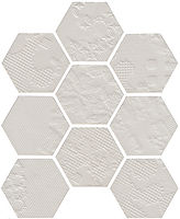 Off white hexagon porcelain til