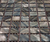 Black and grey mix square grid of mosaic tiles