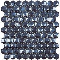 Black diamond diamond sheet of raised and flat glass mosaic