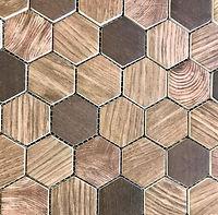 timber wood tile look hexagon mosaic
