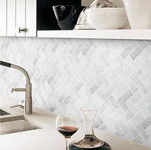 Kitchen backsplash, grey white look, geometric pattern