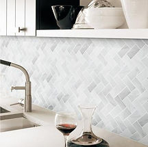 Kitchen backsplash, grey white look, geometric pattern