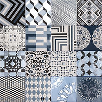 4 x 4 squares with ornate blue and white geometric patterns