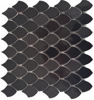 Black fishscale glossed mosaic sheet