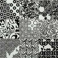 Black and white 3 x 3 squares with varous differet pattens, circles, swirls, squares etc