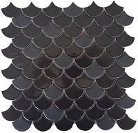 Glossy black fishscale tile