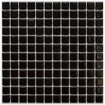 Solid black glossy mosaic tiles in a 35 x 35 grid