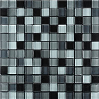 Black & grey glass mosaic tiles in a 300x300 grid