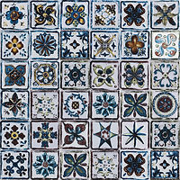 6 x 6 squares with ornate coloured ceramic patterns