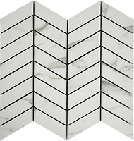 geometric rectangular white tiles in a verticle arrow formation marbled look