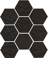 Hexagon matt black porcelain mosaic