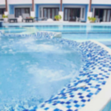 European look, mosaic pool tiles that come in blue green, silver and whites