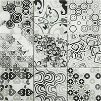 grey and white 3 x 3 squares with varous differet pattens, circles, swirls, squares etc