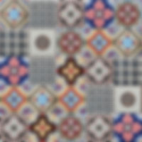 5 x 5 squares with ornate coloured ceramic patterns