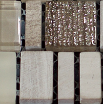 Beige and brown mix of rectanglar and square glass tiles in a grid
