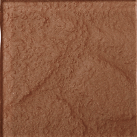 Red rust coloured single square tile with rough finish