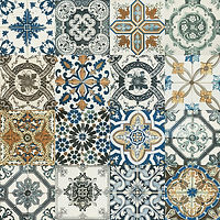 4 x 4 squares with very detailed ornate coloured ceramic patterns