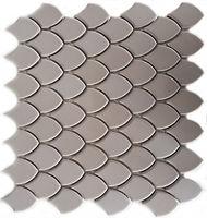 cream glossed mosaic fishscale tile