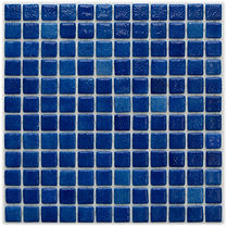 dark blue with traces of light blue glossy mosaic tiles in a 35 x 35 grid