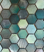 Hexagon interlocked mosaic with an aqua finish